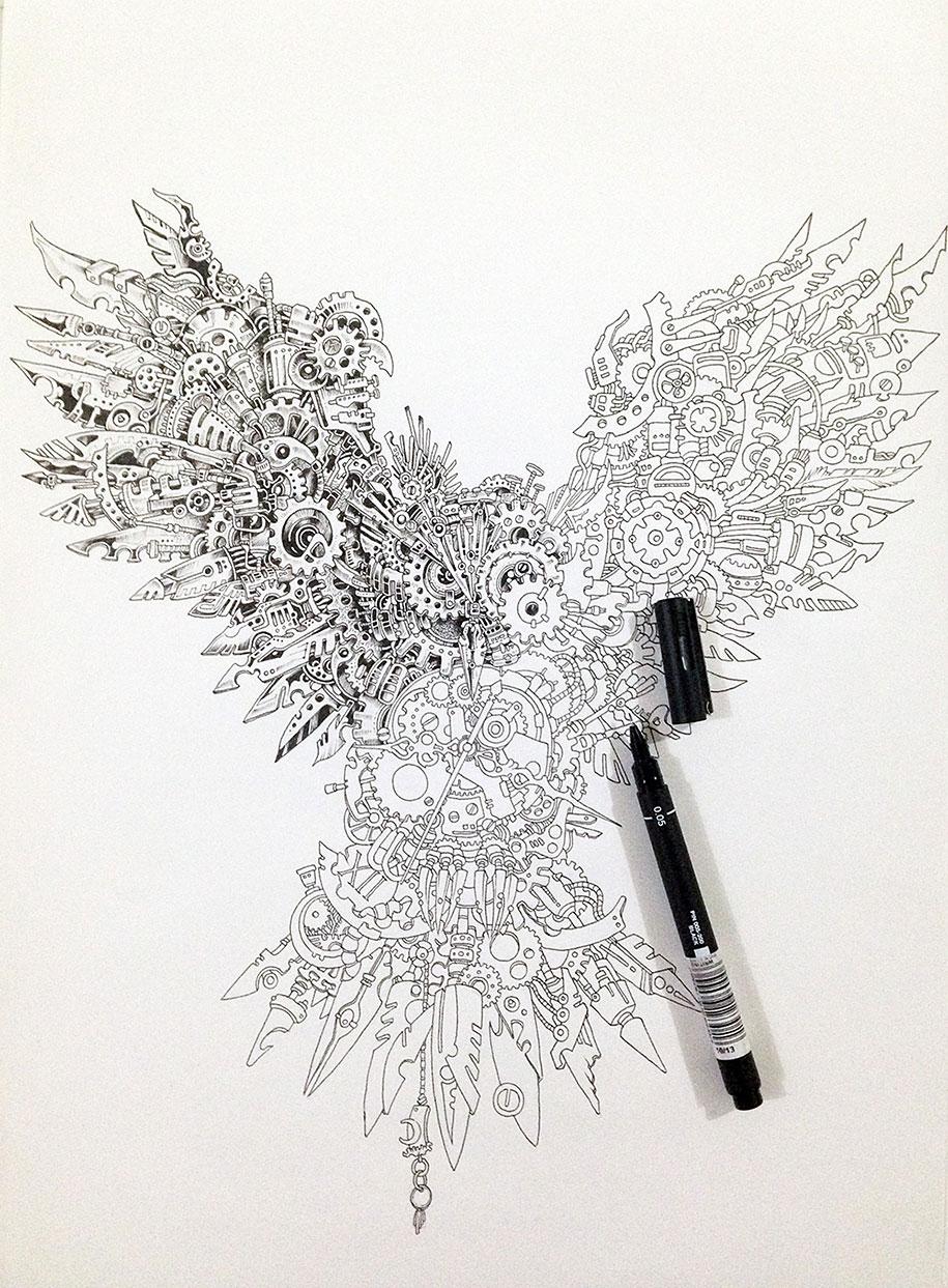 strikingly detailed steampunk owl illustration by doodle artist