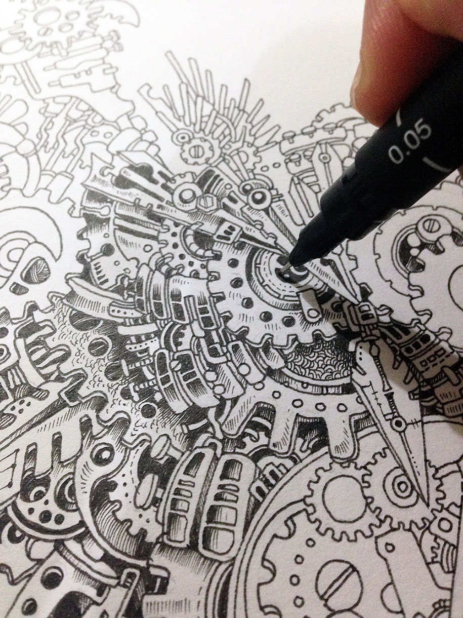 By Owl Detailed Illustration Steampunk Strikingly  Doodle