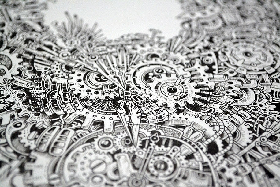Strikingly Detailed Steampunk Owl Illustration By Doodle