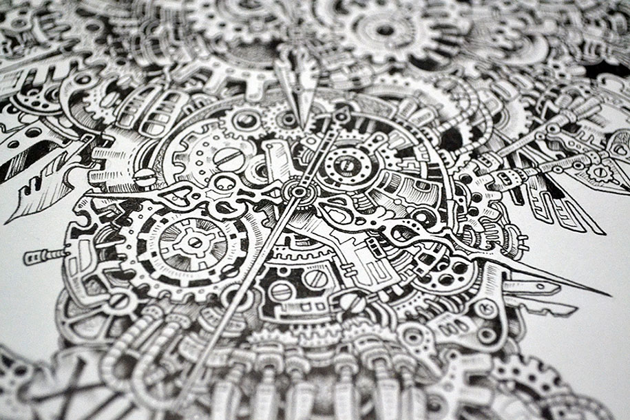Strikingly Detailed Steampunk Owl Illustration By Doodle Artist