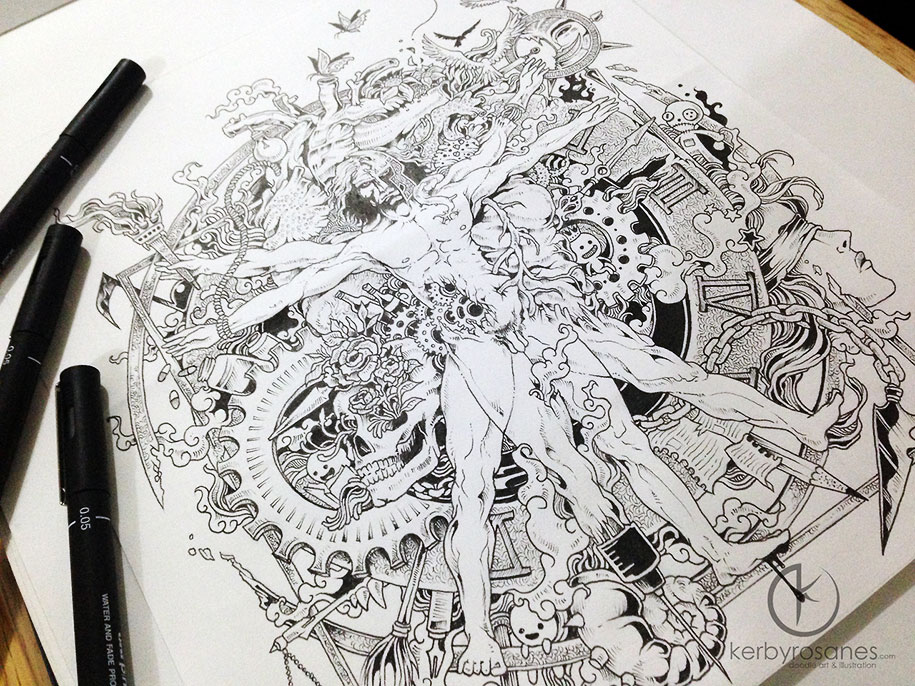 Beautifully detailed pen doodles by artist kerby rosanes for Creative art drawing ideas