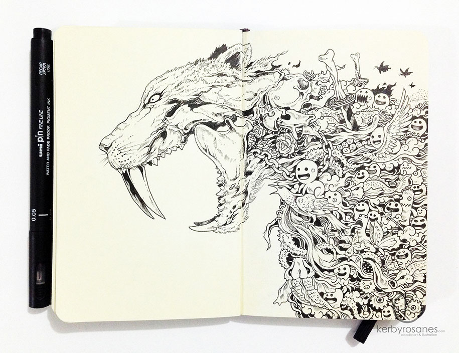 Beautifully detailed pen doodles by artist kerby rosanes for Kerby rosanes