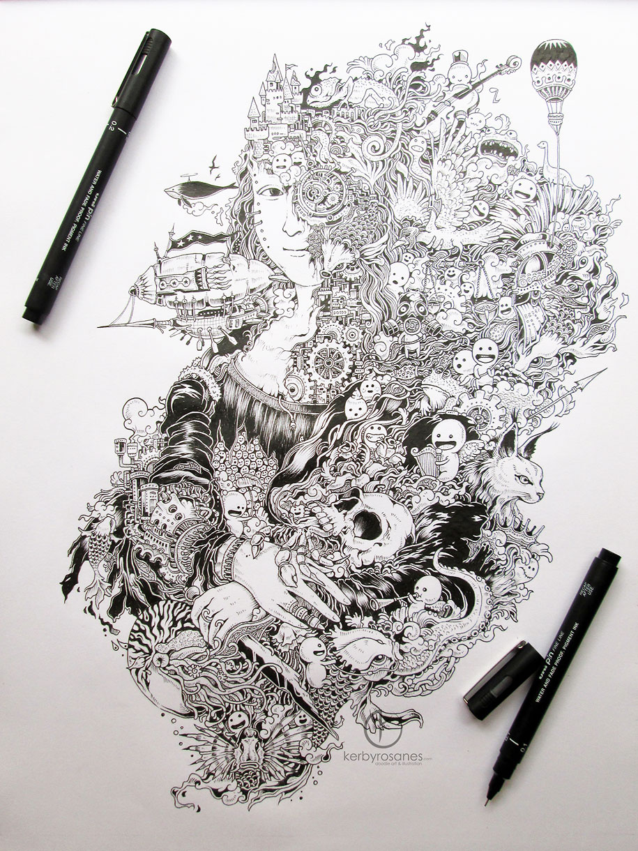 Pen And Pencil >> Beautifully Detailed Pen Doodles By Artist Kerby Rosanes