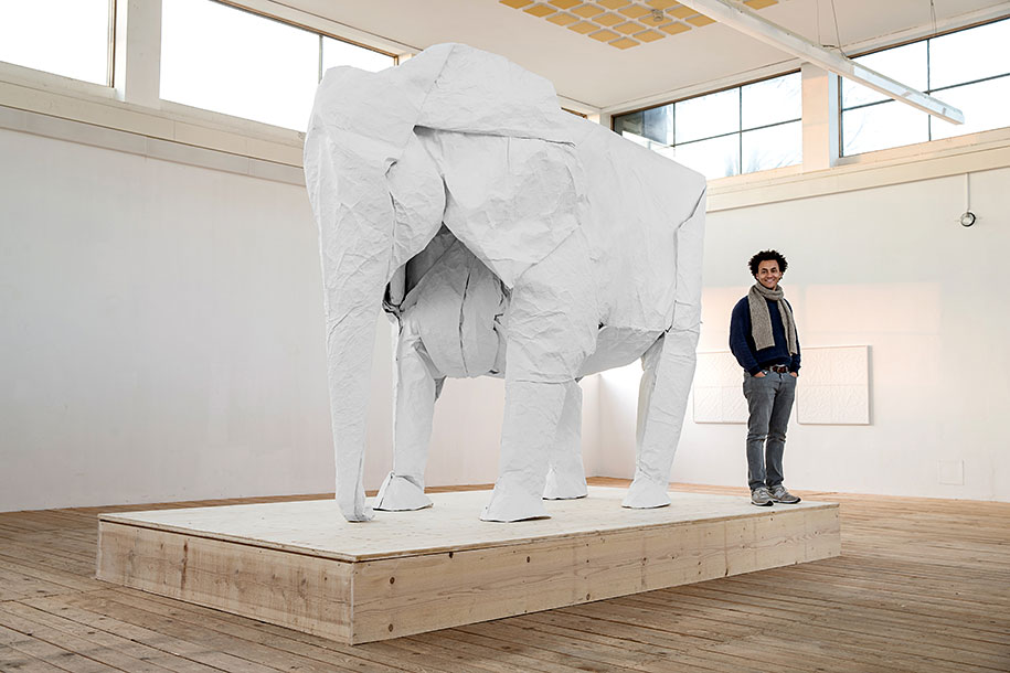Origami Artist Folds Life Sized Elephant From A Single Sheet Of Paper