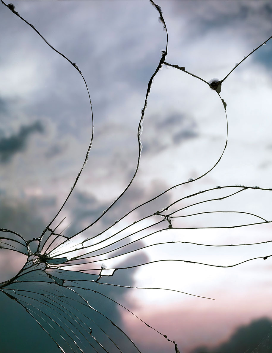 sunsets viewed through a shattered mirror in gorgeous