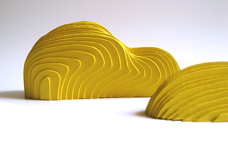 colourful layered paper sculptures by french artist and designer