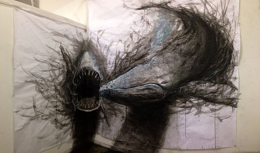 These dark 3d drawings pop out of paper as life sized animals 0 shares voltagebd Images