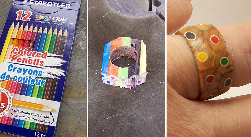 craftsman turns a box of coloured pencils into original ring