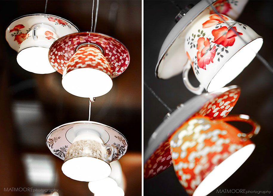 21 diy lamps and chandeliers made of everyday objects 16 cup lights mozeypictures Images