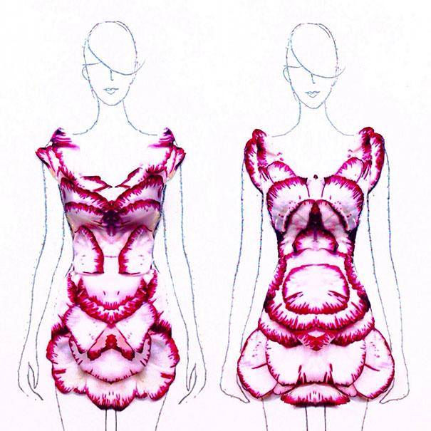 fashion illustration uses designer turns real flower petals into fashion illustrations
