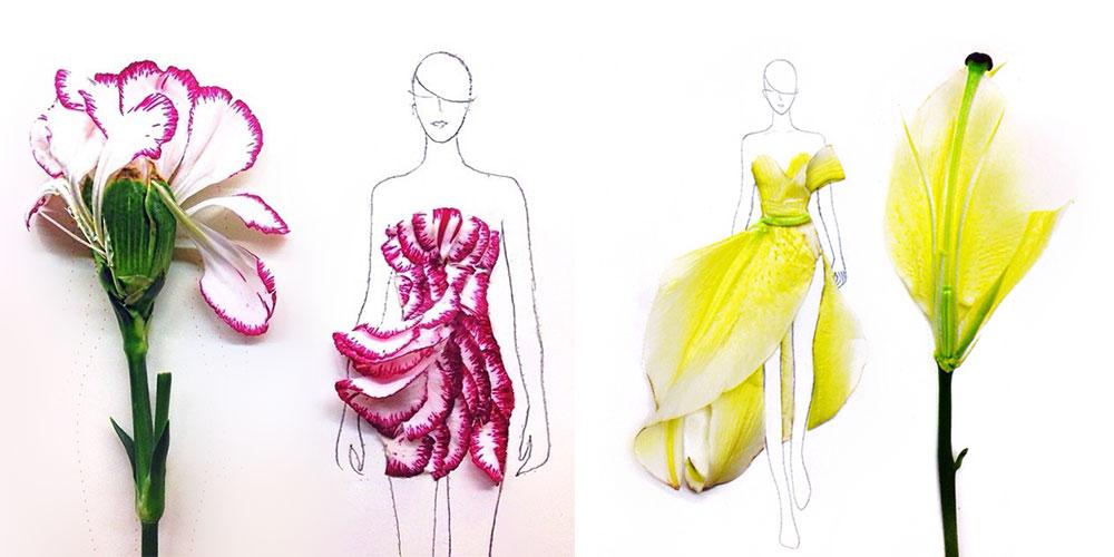 Real Art Design Group : Designer turns real flower petals into fashion illustrations