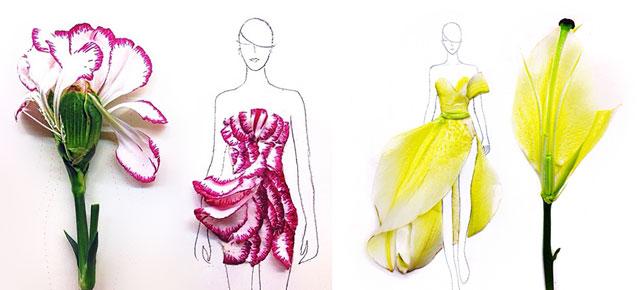 Designer Turns Real Flower Petals Into Fashion Illustrations Demilked