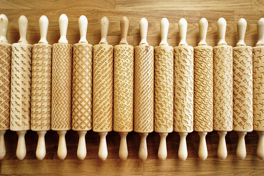 designer creates engraved rolling pins that stamp dough. Black Bedroom Furniture Sets. Home Design Ideas