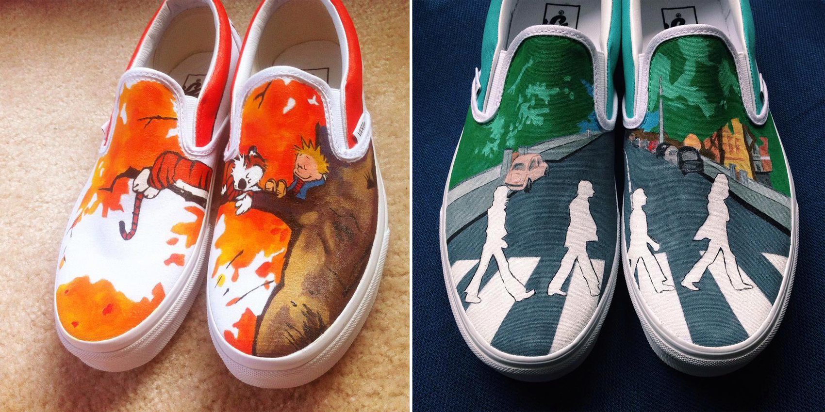 daea6cbc7a Artist Hand-Paints Shoes With Calvin And Hobbes