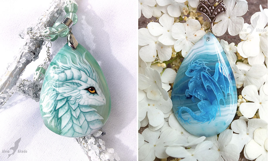 Artist Paints Fantastic Dragons Onto Agate Stones To
