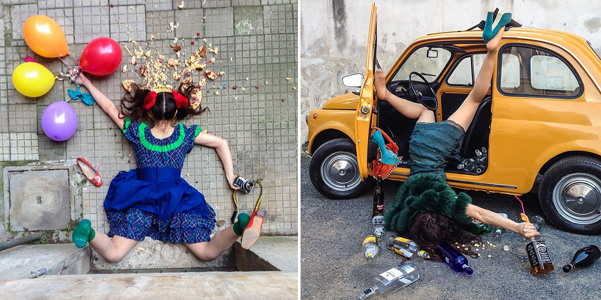 People Posing As If They've Just Fallen In Hilarious Photo Series