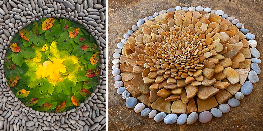 Rocks And Leaves Arranged Into Stunning Works Of Circular Land Art