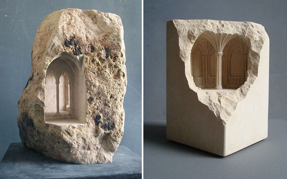 Sculptor Carves Realistic Architectural Sculptures Into