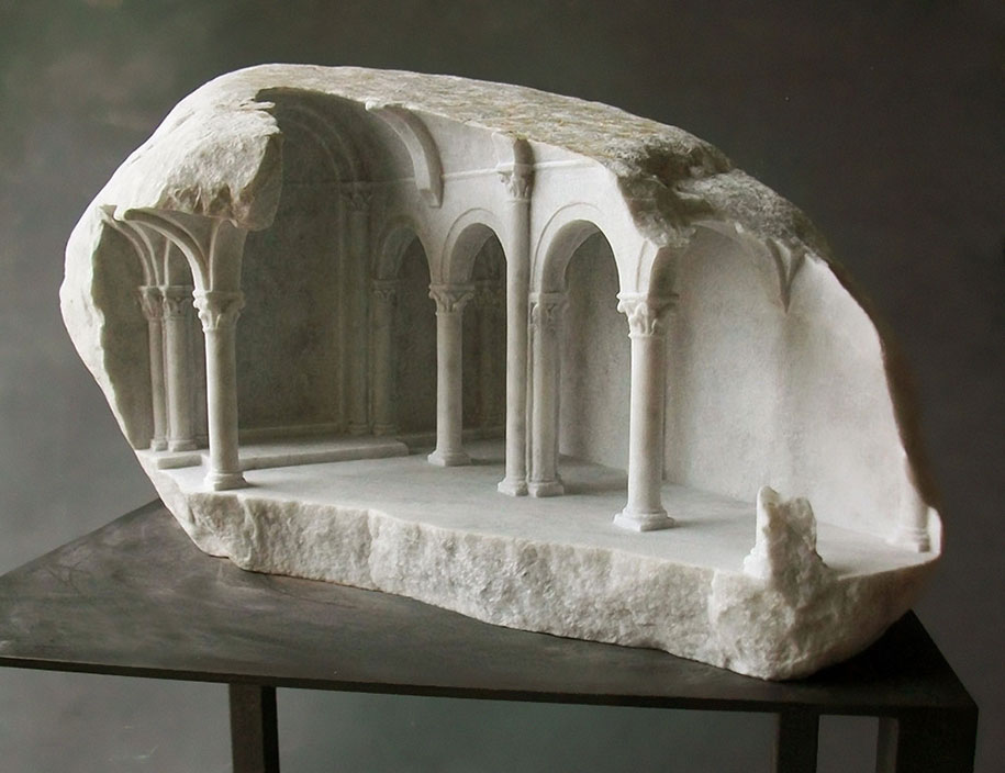 Block Of Stone For Sculpting : Sculptor carves realistic architectural sculptures into