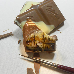 Artist Creates Incredibly Small Paintings On Food
