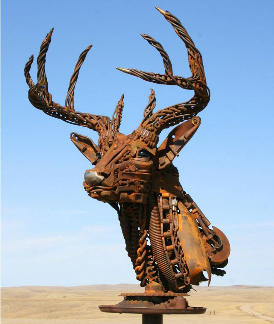Scrap Metal Sculptures Made Of Old Farm Equipment By John