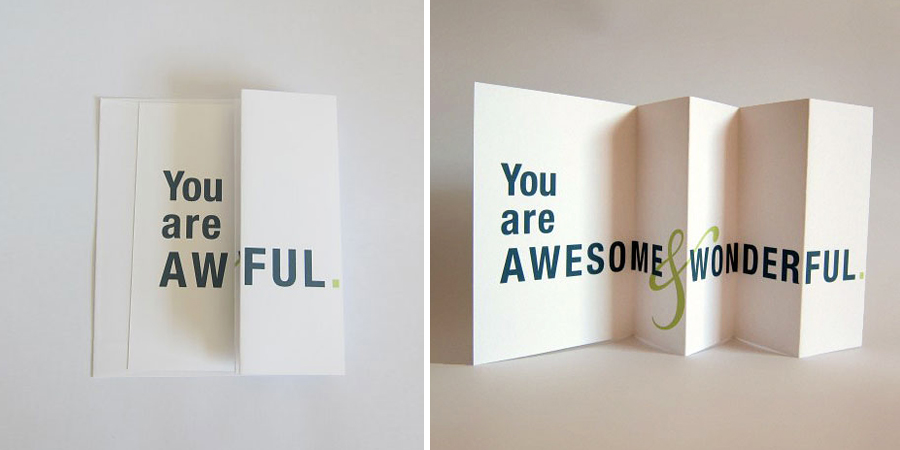 Seemingly offensive cards that fold out into brilliant greetings m4hsunfo
