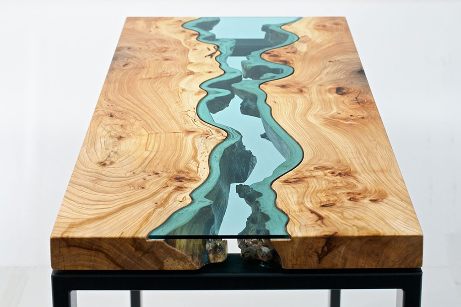 unique wooden tables embedded with glass rivers and lakes by