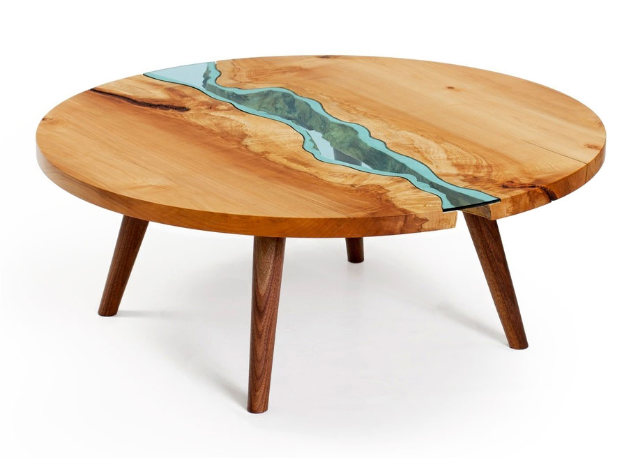 Unique Wooden Tables Embedded With Glass Rivers And Lakes By - Topographic coffee table