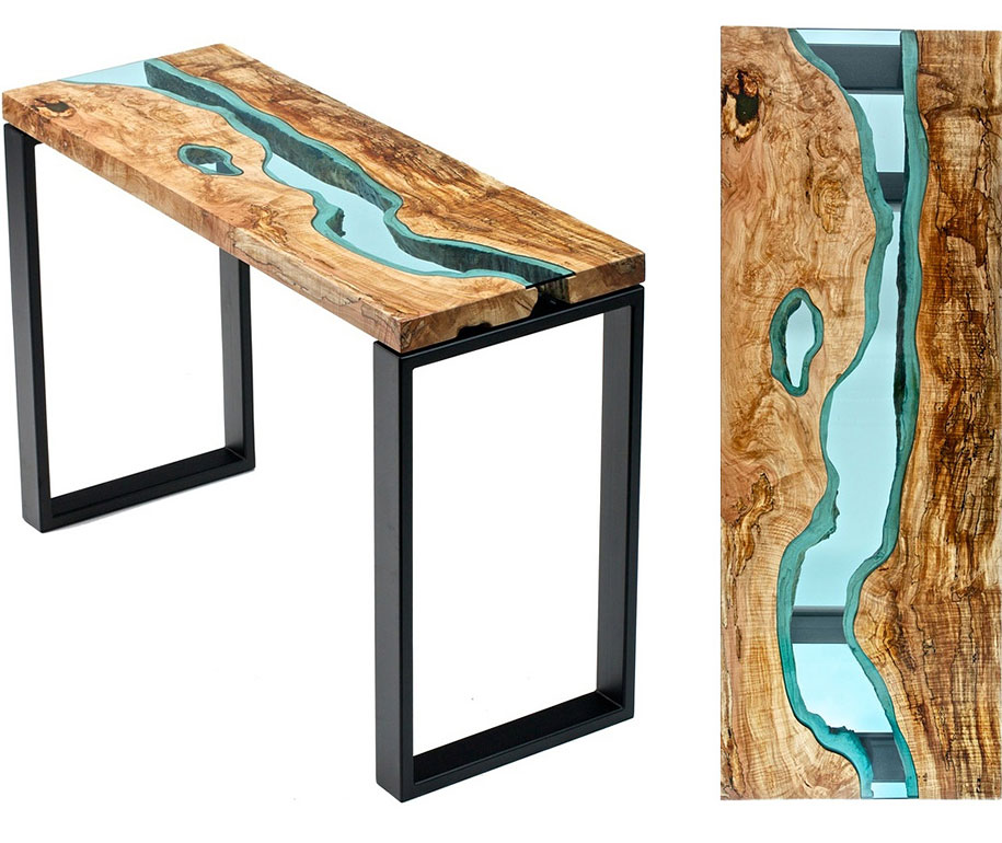 Unique wooden tables embedded with glass rivers and lakes for Wooden table designs images