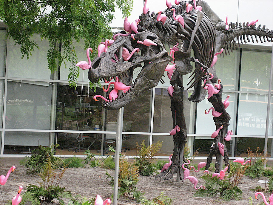 google-campus-dinosaur-stan-flamingos