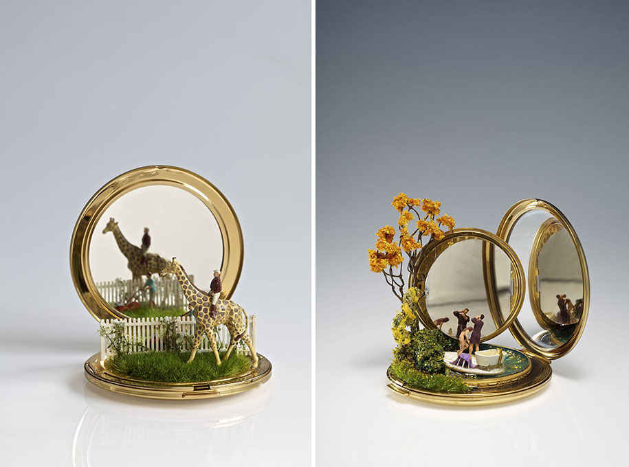 Miniature landscapes sculpted on household objects by