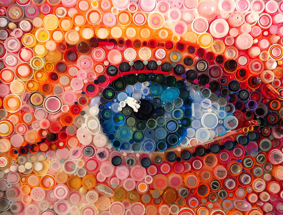 hundreds of plastic bottle caps turned into stunning images by mary