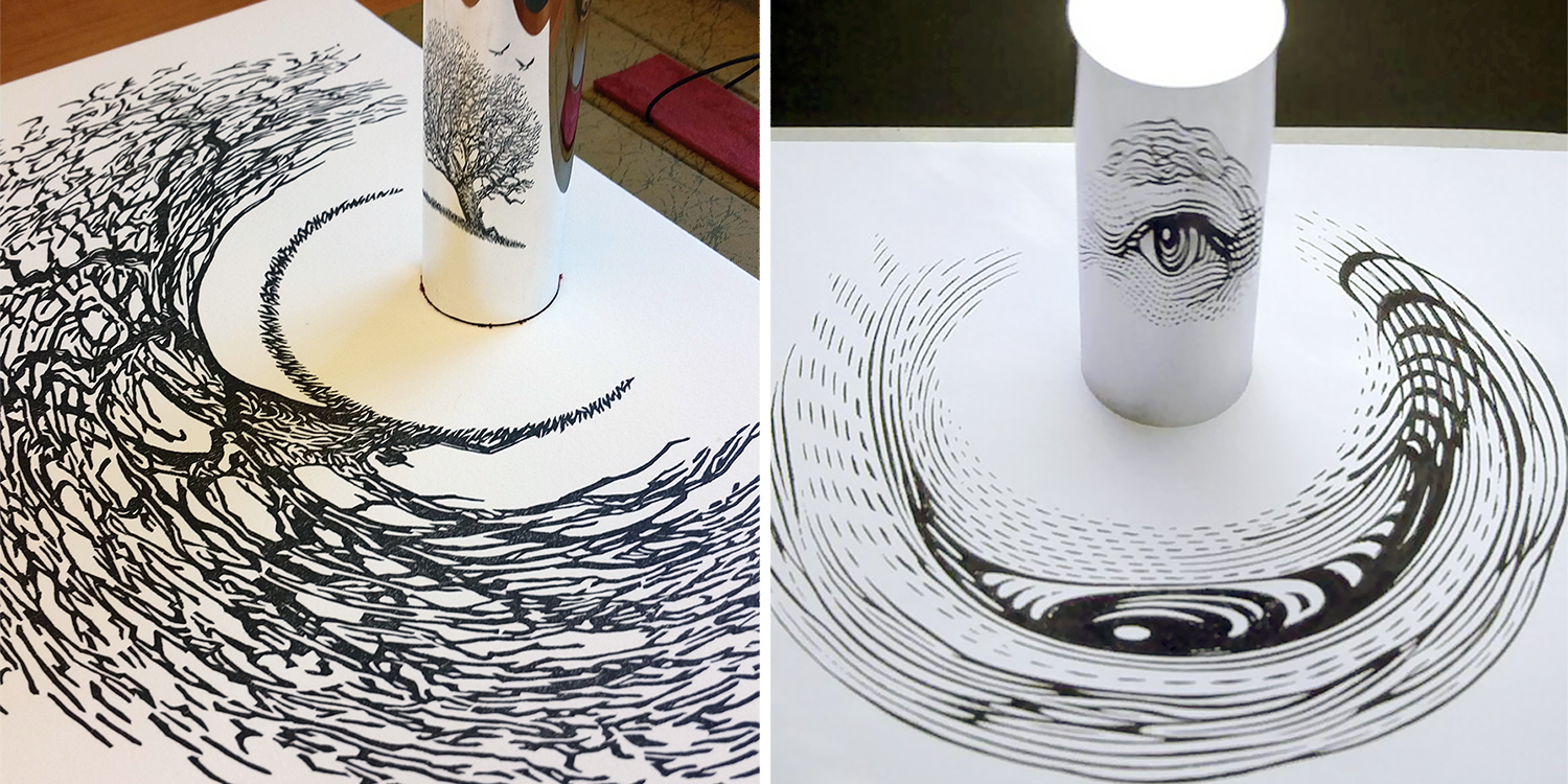 23 Amazing Anamorphic Artworks That Need A Mirror Cylinder To Reveal Their Beauty
