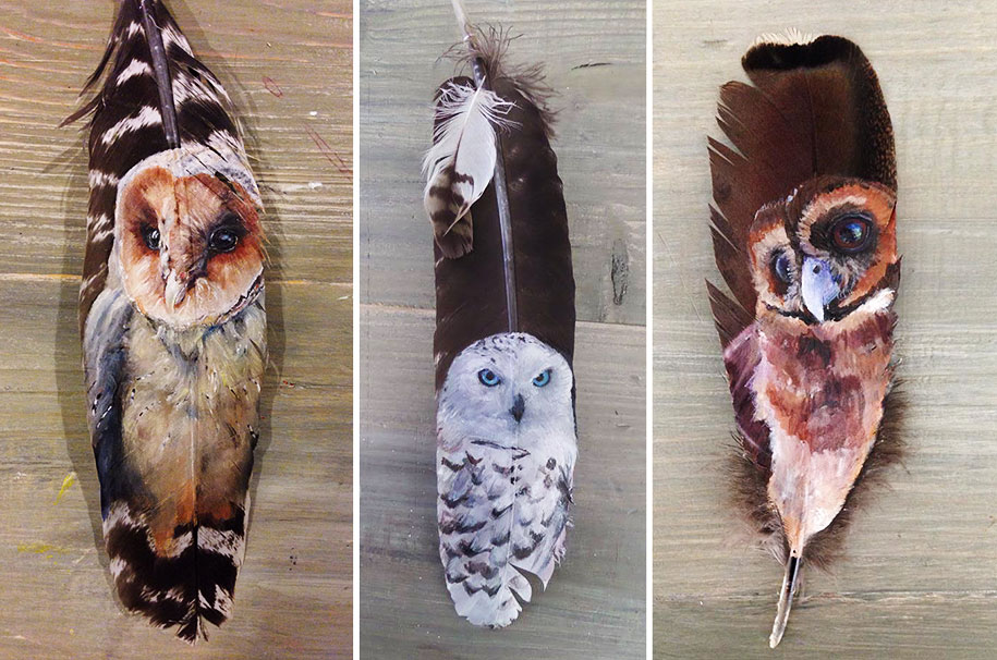 Animals Painted On Delicate Feather Canvases By Jamie
