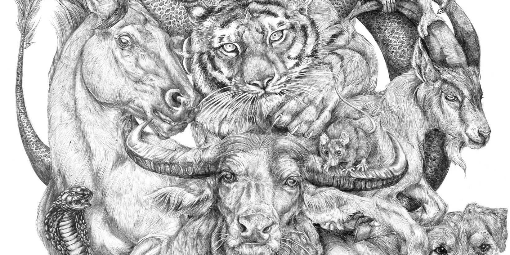 19-Year-Old Artist Spent All Summer Creating This Massive Chinese Zodiac Drawing