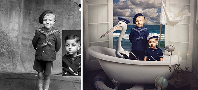 Old romanian glass plate photos revitalized with color and digital magic