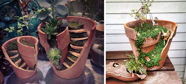 diy fairy gardens made from broken pots. Black Bedroom Furniture Sets. Home Design Ideas