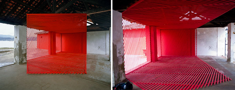 Geometric art by georges rousse is only visible from one angle