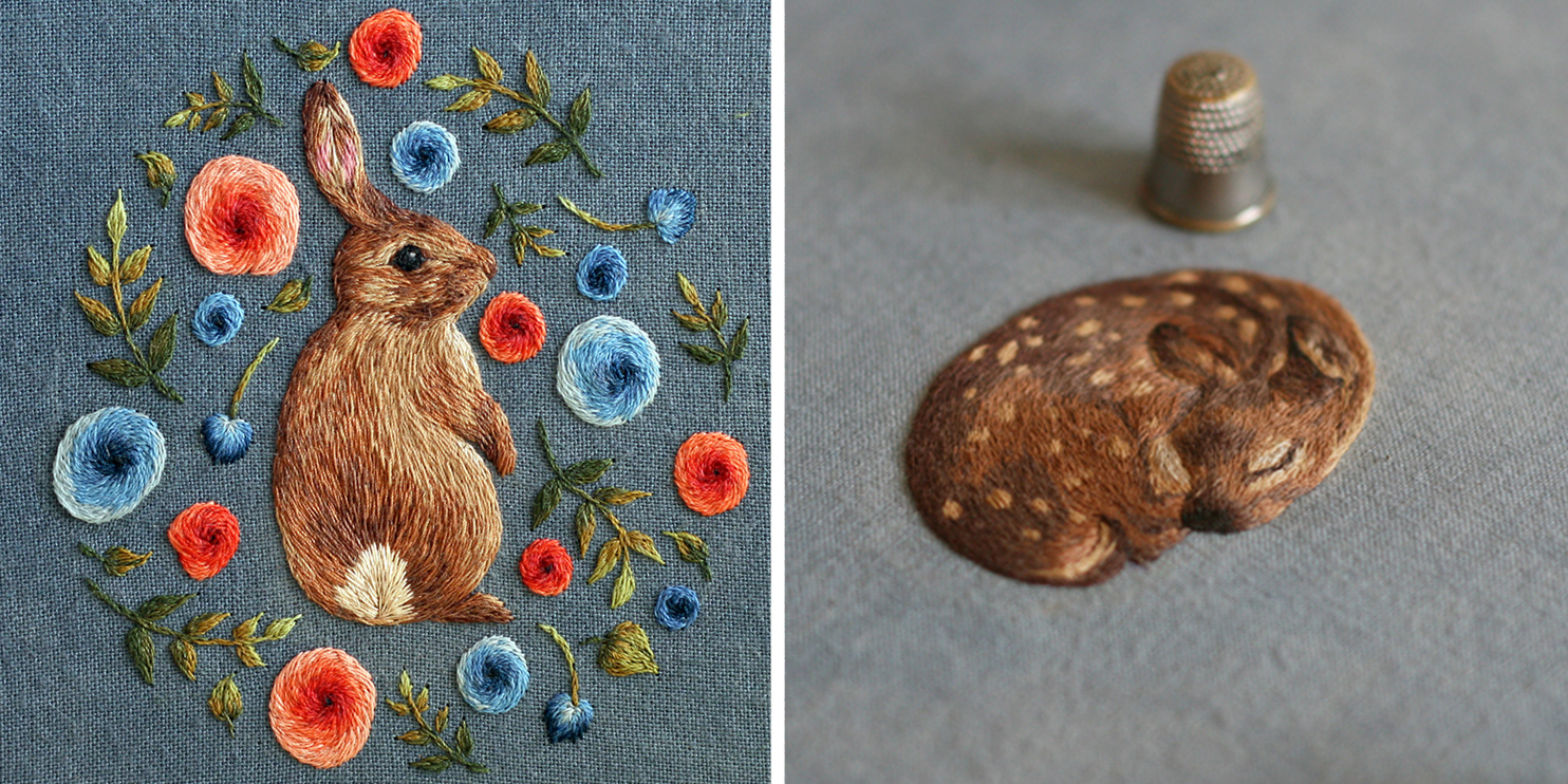 Realistic tiny animals embroidered by chloe giordano
