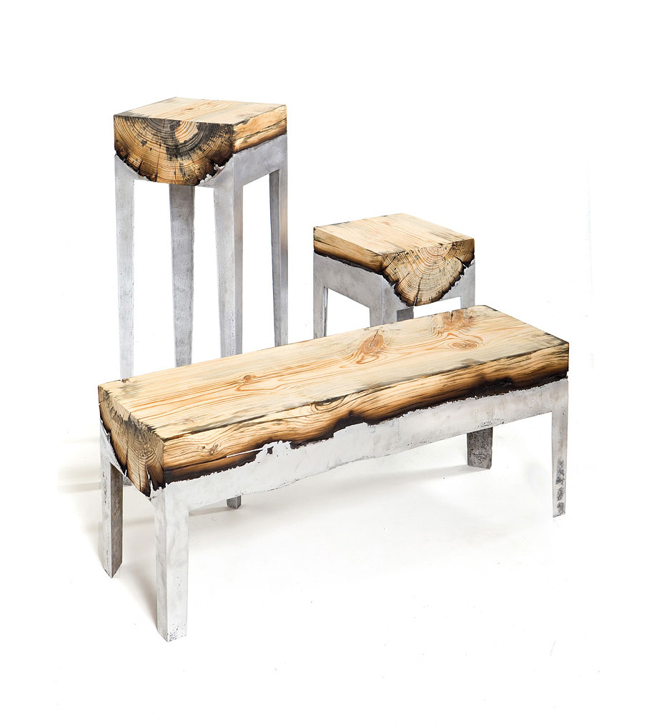 molten aluminum onto tree trunks to create unique pieces of furniture