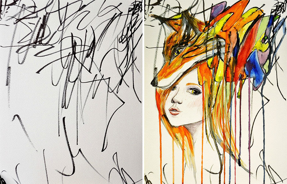 Mother Turns Her 2-Year-Old\'s Scribbles Into Watercolours