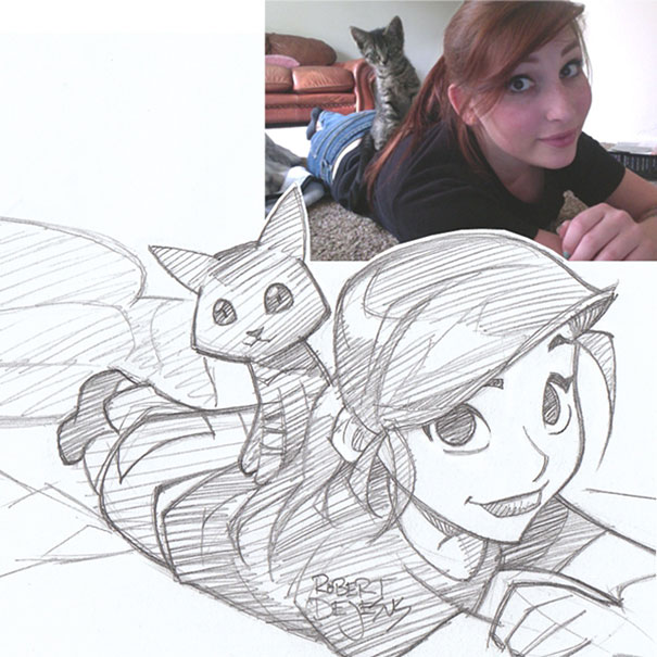Illustrator Turns Strangers Photos Into Anime Inspired Sketches