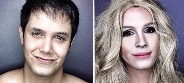 Guy Transforms His Face With Makeup To Look Like Female Hollywood