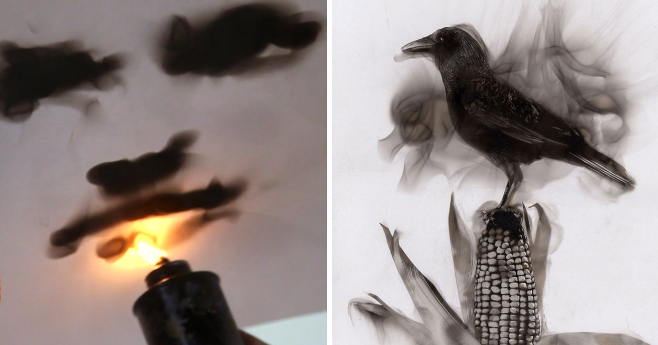 Artist Paints With Fire Engraving Lines In Candle Soot