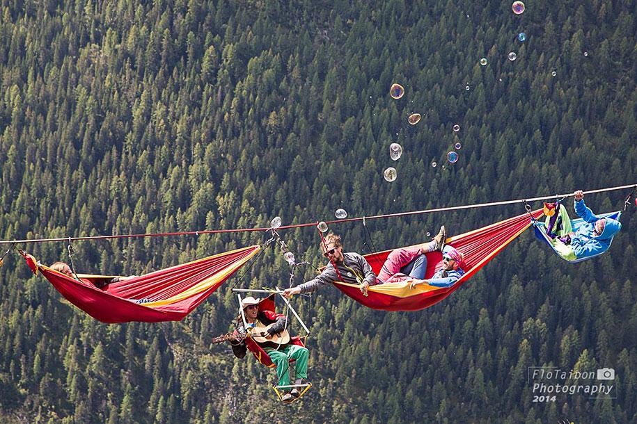 slack line festival international highline meeting climbing italian  the attendees of this festival slept in hammocks hundreds of feet      rh   demilked