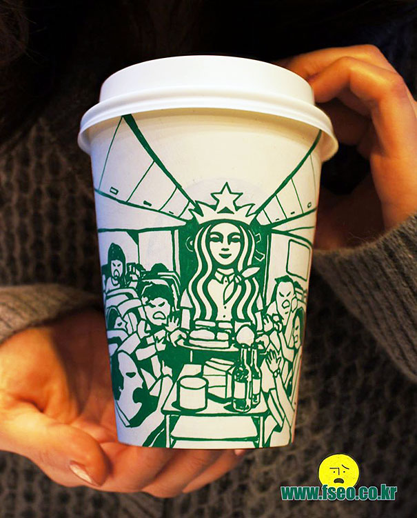 Illustrator Draws On Starbucks Cups To Creatively Transform The Logo
