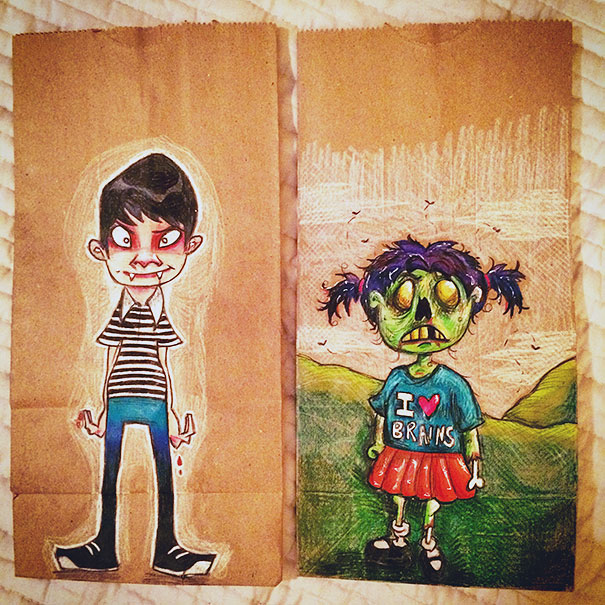 Mom Draws Inspiring Illustrations On Her Kids' Lunch Bags