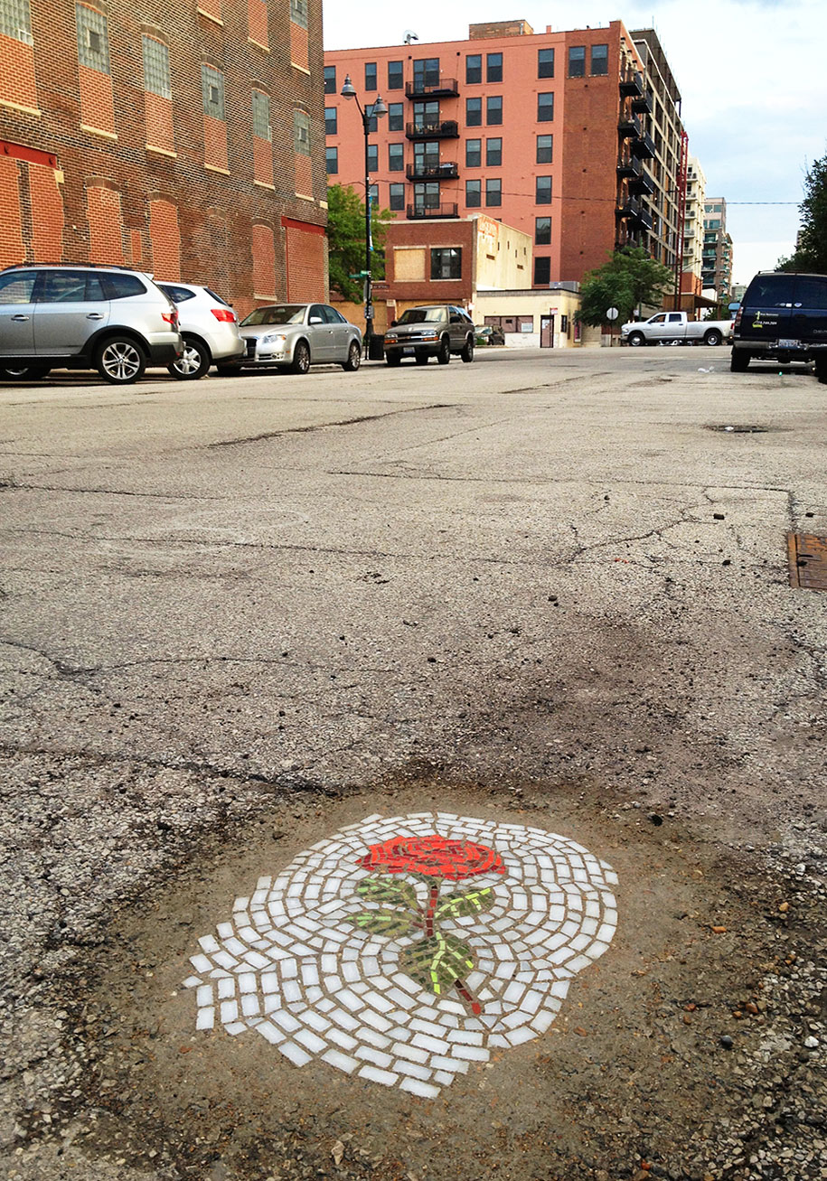 Street Artist Replaces Potholes With Flower Mosaics In Chicago