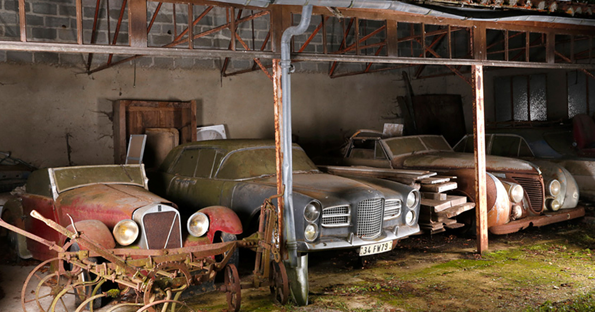60 Vintage Cars Found In French Farm Garage After 50 Years