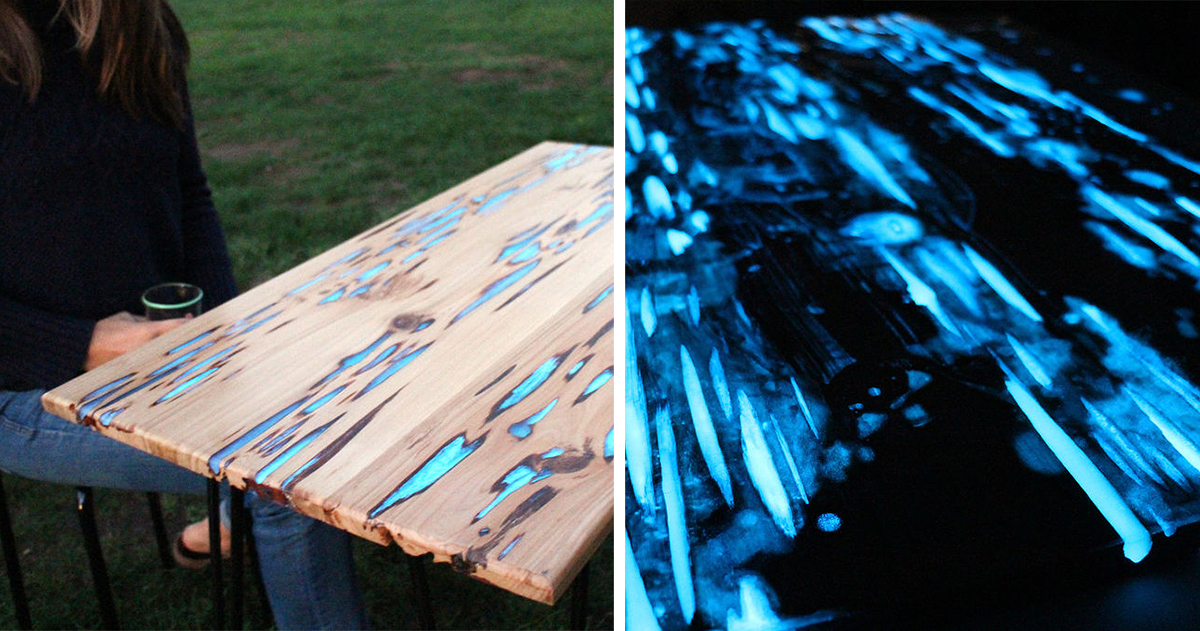 Awesome diy table with glow in the dark resin demilked - Glow in the dark resin table ...